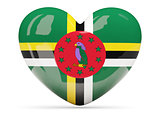 Heart shaped icon with flag of dominica