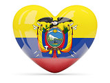 Heart shaped icon with flag of ecuador