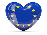 Heart shaped icon with flag of european union