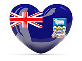 Heart shaped icon with flag of falkland islands
