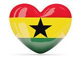 Heart shaped icon with flag of ghana