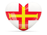 Heart shaped icon with flag of guernsey