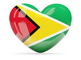 Heart shaped icon with flag of guyana
