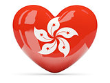 Heart shaped icon with flag of hong kong