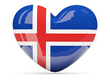 Heart shaped icon with flag of iceland