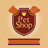 Vector logo for a pet store in heraldic style. Accessories for pets. Dog and cat