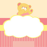 Vector background with teddy bear. Kiss, love, space for text. Pink. Card for newborn girl. Goods for newborns.