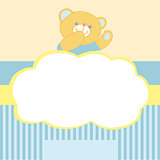 Vector background with teddy bear. Kiss, love, space for text. Card for newborn boy. Goods for newborns. Blue