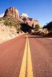 Two Lane Road Mountain Buttes Zion National Park Desert Southwes