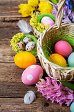 Basket with colored eggs
