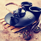 Asian teapot and two cups