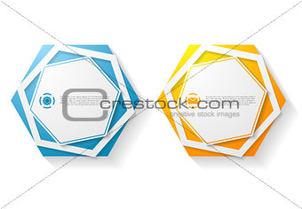 Abstract hexagon shape vector sticker