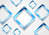 Blue shiny squares on white background