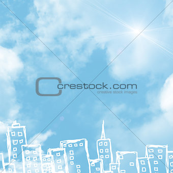 Background of sketches buildings and clouds