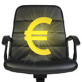 White euro sign stands in chair. Isolated on white background