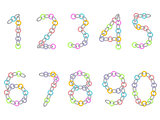 Numbers from colored and metallic chain