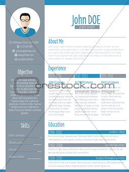 Modern resume cv design with photo