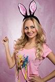 Blonde, rabbit woman