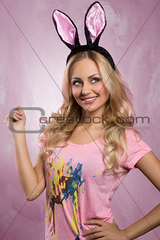 Blonde, rabbit woman