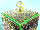 Silver maze with gold dollar sign on a grassy color cube. Fractal art graphics.