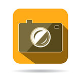 Hipster photo or camera icon with long shadow