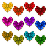 Set of elegant silk colored bows