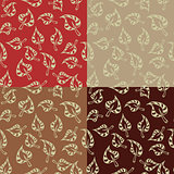 set of seamless pattern with leaves