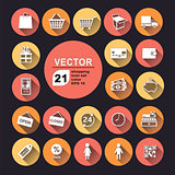 shopping icon set color