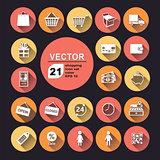 shopping icon set color