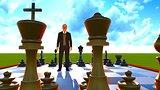 Businessman on chess board