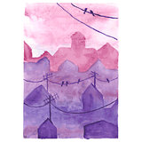 Watercolor night town