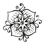 Amazing black flower in tattoo style