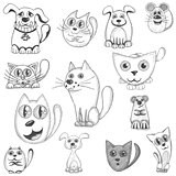 Hand drawn cats, dogs and mouse set