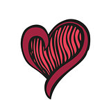 Red fantasy heart in tattoo style