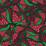 Fantasy floral seamless pattern in tattoo style