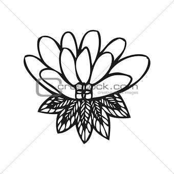 Amazing fantasy flower in tattoo style