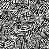 Doodling hand drawn seamless background with feathers
