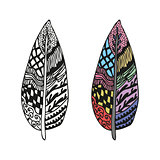 Doodling hand drawn amazing feathers with patterns