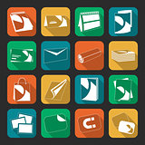 Printing house web flat color icons set