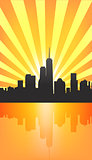 Modern cityscape on Sunburst Pattern with reflection