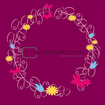 Frame ornaments with flowers and butterflies
