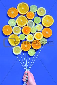 Citrus  slices fruits concept