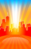 Modern cityscape on retro sunburst pattern with stage and spot o