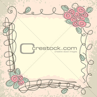 Greeting card with decorative floral elements