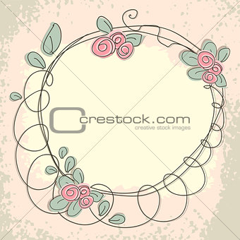 Floral doodle frame with space for text.