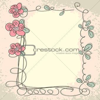Floral frame with doodle elements