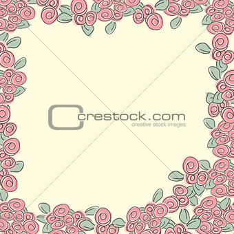 Frame from pink roses
