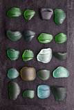 old sea glass bottlenecks