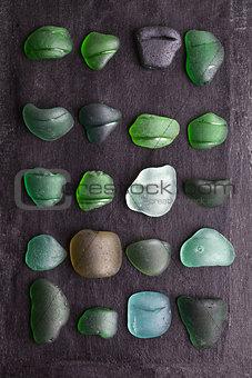 old sea glass bottlenecks