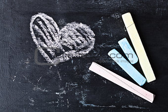 blackboard, chalk and heart